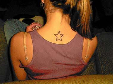 Girls tattoo sample star tattoo design back neck